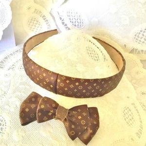 Accessories - Monogram Brown Monogram Satin Hairband & Bow Set